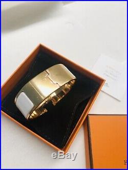 New Hermes White Rose Gold Hardware CLIC Clac H Wide Enamel Bracelet Pm
