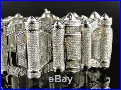 New Mens White Gold Xl 40 Mm Wide Genuine Diamond Bullett Bracelet Bangle 15 Ct