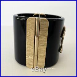 Nib 2019 Gorgeous Chanel Black Gold Pearl Crystal CC Logo Wide Cuff Bracelet