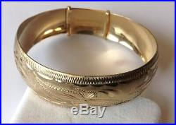 Outstanding 14k Solid Yellow Gold Wide Etched Bangle Bracelet