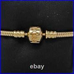 Pandora Heavy 14K gold high fashion 3mm wide snake link charm bracelet