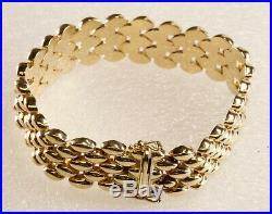 Panther Link Bracelet 14K Yellow Gold 1/2 Wide 27.7 G 7.5 Slide Clasp Safety