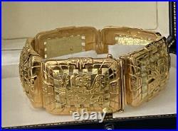Peruvian 18k Gold Handmade Wide Heavy 6 Panels Cuff Bracelet 92.4g Incredible