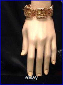 Peruvian 18k Yellow Gold Five Panel Handmade 1 Wide Bracelet 90.7g
