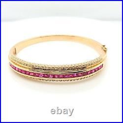 Pink Sapphire and Diamond Wide Bangle Bracelet 14K Yellow Gold (10014597)