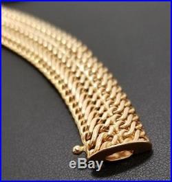 Polished Italian 14K Yellow Gold Wide 15mm Woven Bracelet 7 1/4'' 13.3 Gram 14KT