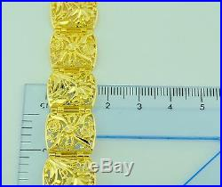 Pre owned 18K Solid Yellow Gold Wide Flower Filigree Bracelet 7.5inch 31.10 gram