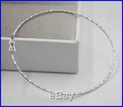 Pure 18K White Gold Bangle Lucky Women 1mm Wide Thin Bracelet / 1.3g