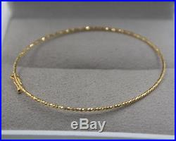 Pure 18K Yellow Gold Bangle Best Gift Women 1mm Wide Thin Bracelet / 1.5g