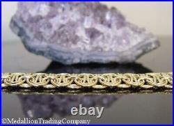 QVC 14k Yellow Gold 19mm. 75 Wide Byzantine Knot Bracelet Toggle Clasp +Box, Bag