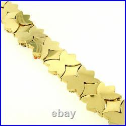 RARE Antique 14K Yellow Gold Multi Gemstone Wide Florentine Slide Charm Bracelet