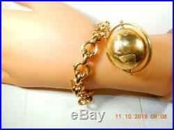 RARE Globe charm 18K heavy 12.7 mm wide Gold Chain bracelet 8 inches 29.4 gram
