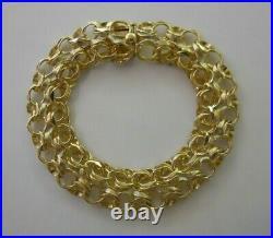 RARE WIDE Vintage 14k Gold DOUBLE DOUBLE LINK CHARM BRACELET 7.5 In 24.6G #19059