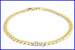REAL 10K Yellow Gold 7.5in Womens 5.5MM WIDE Curb Cuban Link Chain Bracelet 7.5