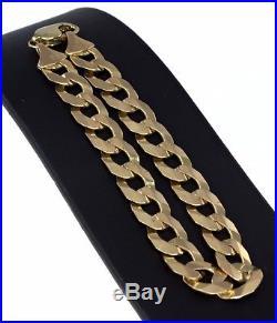 REDUCED 9k Yellow Gold (Dark) Mens Wide 22cm Bracelet /Parrot Beak 21.3gm #353