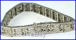 Rare Antique Belais 10k White Gold Filigree 3 Diamond Wide Bracelet