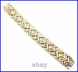 Rare! Authentic Bulgari Bvlgari Trika 18k Yellow Gold Wide Link Bracelet
