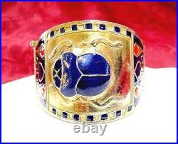 Rare Egyptian Revival Gold Tone Blue Red Enamel Scarab Wide Cuff Bracelet