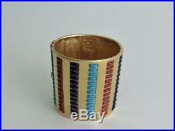 Rare MMA Metropolitan Museum of Art Vintage Wide Gold Tone Hinged Bracelet- EUC