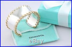 Rare Tiffany & Co. 18Kt. Gold Spiral Sterling Silver MEDIUM Wide Cuff Bracelet