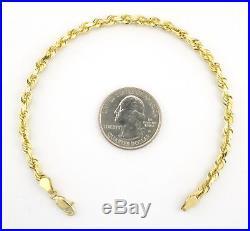 Real 10K Yellow Gold Italian 4mm WIDE Diamond Cut Rope Chain Bracelet 7 8 9