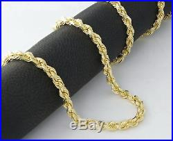 Real 14k Yellow Gold Mens 4mm Wide Diamond Cut Rope Chain Link Bracelet- 9in 9