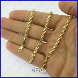 Real 18K Yellow Gold Italian 4mm Wide Diamond Cut Rope Chain Bracelet 7 8 9