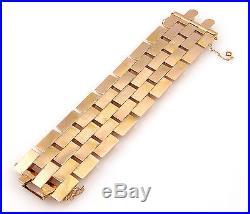 Retro 18K Yellow & Rose Gold 42mm Wide Link Fashion Bracelet
