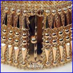 Retro Art Wide Geometric Openwork Mesh Bracelet 18 kt Rose Gold 7 1/4 #A3176