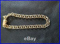 Retro Genuine 14k Yellow Gold Wide Link Charm Bracelet 7.5