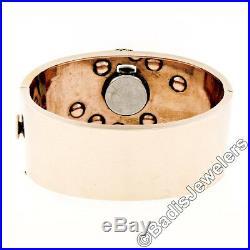 Retro Vintage 14k Rose Gold Wide Ruby Bangle Bracelet with Platinum Diamond Watch