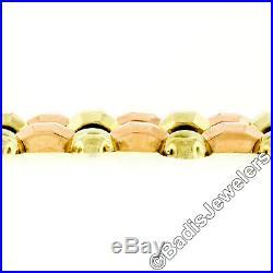 Retro Vintage 1940's 14k Green & Rose Gold 7 Wide Open Faceted Link Bracelet