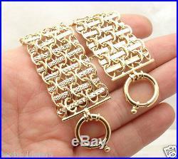 Reversible Bold Wide Diamond Cut Railroad Bracelet Real 14K Yellow Gold