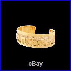 Robert Taylor Navajo 14k Gold Storyteller Wide Cuff Bracelet 56G Native American
