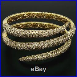 Roberto Coin 18k Gold 18 50ct Fancy Brown Round Diamond Wide Snake Wrap Bracelet