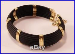 Roberto Coin Africa 18k Yellow Gold Blk Rubber 6-station Wide Cuff Bracelet