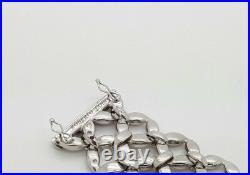 Roberto Coin Estate 18k White Gold Round Diamond Wide Link Satin Bracelet Italy