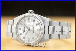 Rolex Mens Datejust Original Wide Boy Dial 18k White Gold Bezel & Steel Watch