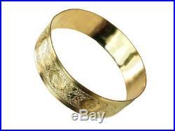 SALE! Floral Gold Bangle / Real 1/20-14K Gold Filled /18mm wide Hawaiian Bangle
