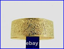 SALE! Vintage Bangle Authentic Gold Filled 1/20 14K One inch wide Solid bangle