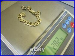 SOLID 10K YELLOW GOLD CUBAN LINK BRACELET 8.25 10.5MM WIDE 28.2g