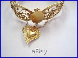 STUNNING Antique Vintage 18K Yellow GOLD Filigree Cuff Wide BRACELET Heart 7.25