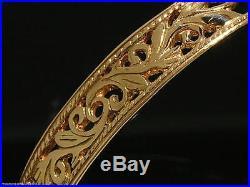 STUNNING Genuine 9ct SOLID Rose/Pink Gold BOTANICAL Filigree WIDE Bangle 64mm