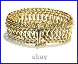 Sadufa 14k yellow gold wide fancy hollow link charm bracelet 22.4g ladies 7