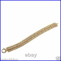 Sevilla Gold 8 Wide Triple Row Curb Link Bracelet Real 14K Yellow Gold 14.7gr