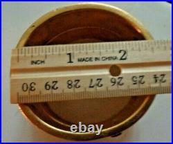Signed Ben-Amun Vintage 24K Gold Plate Wide Bangle Cuff Jeweled Bracelet