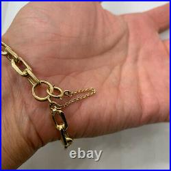 Signed DFS estate 14k yellow gold chunky link chain bracelet safety 6.5mm wide