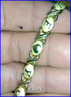 Solid 10k gold I Love You Valentine bracelet 4.2 grams 7.25 long 6.2mm wide