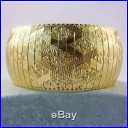 Solid 14K Yellow Gold Wide Heavy Fancy Link Bracelet, 7.5, 28mm, 45.4 grams