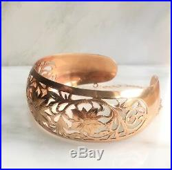Solid 14k Rose Gold Wide Cuff USSR Bangle Bracelet, 8.5 Inches